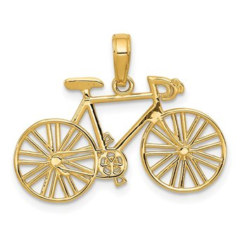 14k Polished Bicycle Charm