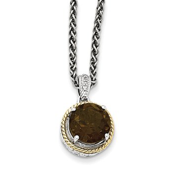 Sterling Silver w/14k Smoky Quartz and Diamond Necklace