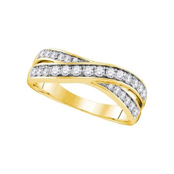 14kt Yellow Gold Womens Round Diamond Crossover Band Ring 1/2 Cttw