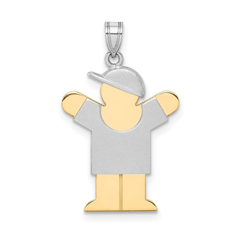 Quality Gold 14k Two-Tone Small Boy with Hat on Right Engravable Charm