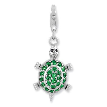 Sterling Silver Rhodium plated CZ Green Turtle w/Lobster Clasp Charm