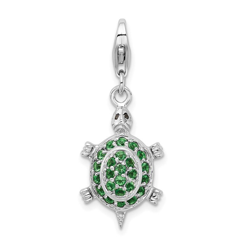 Quality Gold Sterling Silver Rhodium plated CZ Green Turtle w/Lobster Clasp Charm