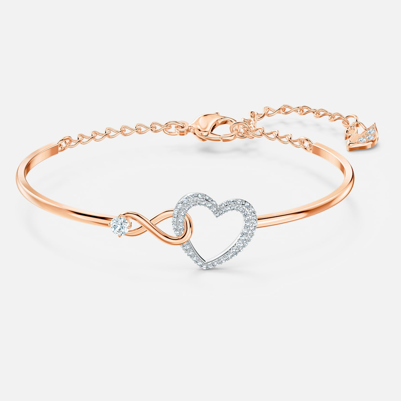 Swarovski Swarovski Infinity Heart Bangle, White, Mixed metal finish