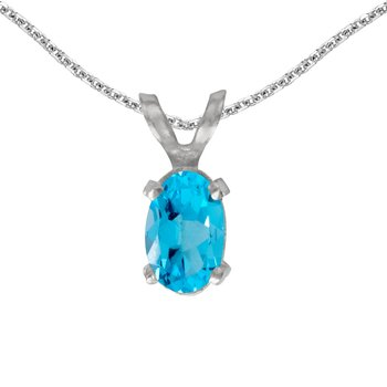 14k White Gold Oval Blue Topaz Pendant