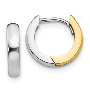 14k Two-tone 2.5mm Round Hinged Hoop Earrings