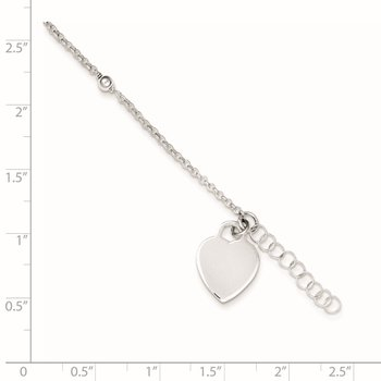 Sterling Silver Polished Bead and Heart 9in Plus 1in Ext. Anklet