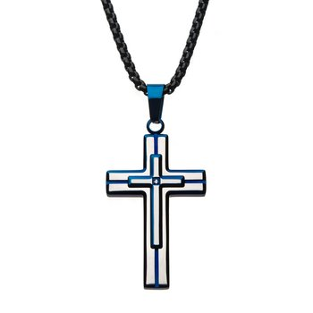 Steel Brushed Blue Plated with Clear Gem Cross Pendant with Black Bold Box Chain