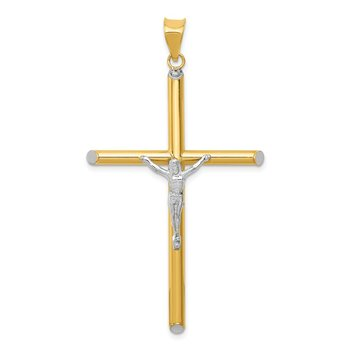 14K Two-Tone w/Rhodium Crucifix Pendant