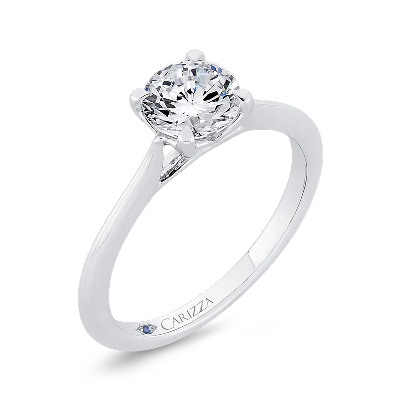 Carizza 14K White Gold Solitaire Engagement Ring (Semi-Mount)
