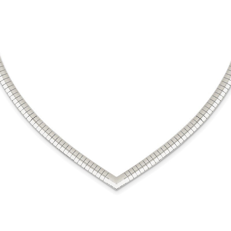 Quality Gold Sterling Silver 4mm Cubetto V-shaped Necklace