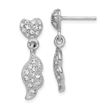 Sterling Silver Rhodium-plated CZ Heart & Wings Dangle Post Earring
