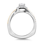 Valina Halo Engagement Ring Mounting in 14K White/Yellow Gold (.18 ct. tw.)