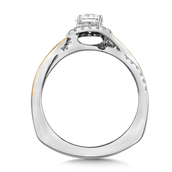 Halo Engagement Ring Mounting in 14K White/Yellow Gold (.18 ct. tw.)
