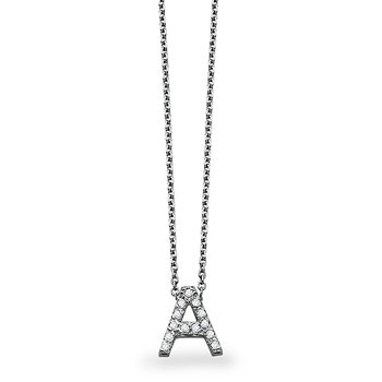 "Diamond Block Initial ""A"" Necklace in 14k White Gold with 13 Diamonds weighing .10ct tw."
