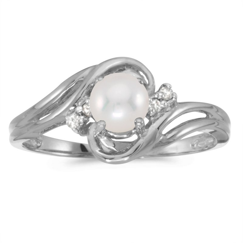 de07ca8fc Color Merchants 10k White Gold Pearl And Diamond Ring. Stock # RM1219W-06