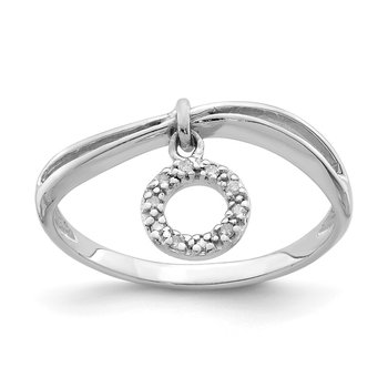 Sterling Silver Rhodium Plated Diamond Circle Dangle Ring