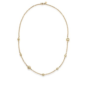 14K Gold Polished Bead Station Necklace
