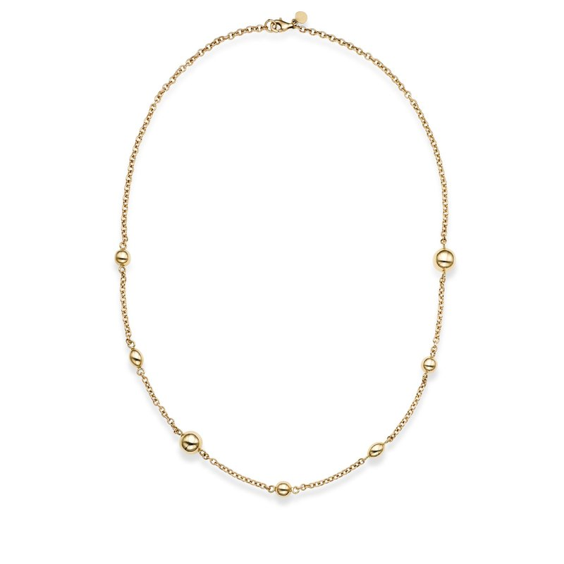 Royal Chain 14K Gold Polished Bead Station Necklace