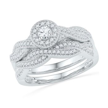 10k White Gold Womens Round Diamond Twist Bridal Wedding Engagement Ring Band Set 1/2 Cttw