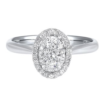 Diamond Oval Halo Cluster Ring in 14k White Gold (1/4 ctw)