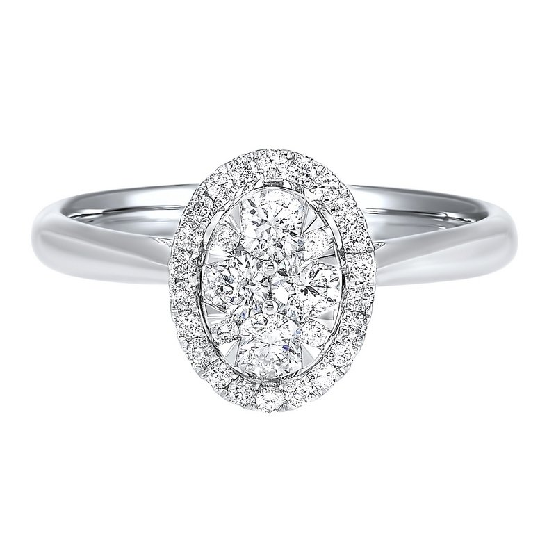 Gems One Diamond Oval Halo Cluster Ring in 14k White Gold (1/4 ctw)