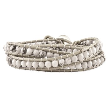 White Howlite Beaded and Leather Multi-wrap Bracelet