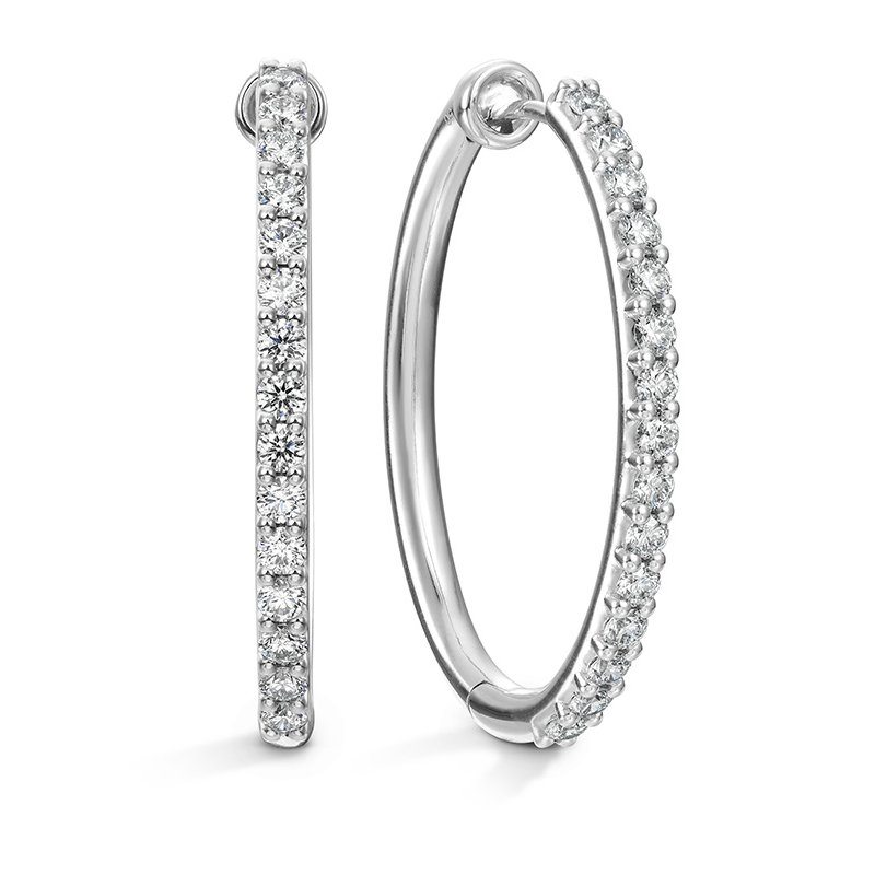Hearts on Fire 0.96 ctw. HOF Oval Classic Diamond Hoop - Large