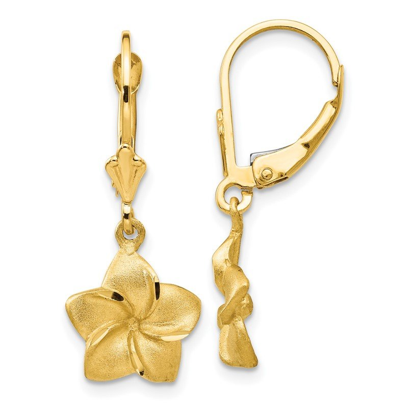 Quality Gold 14k Satin & Diamond-Cut Plumeria Dangle Leverback Earrings