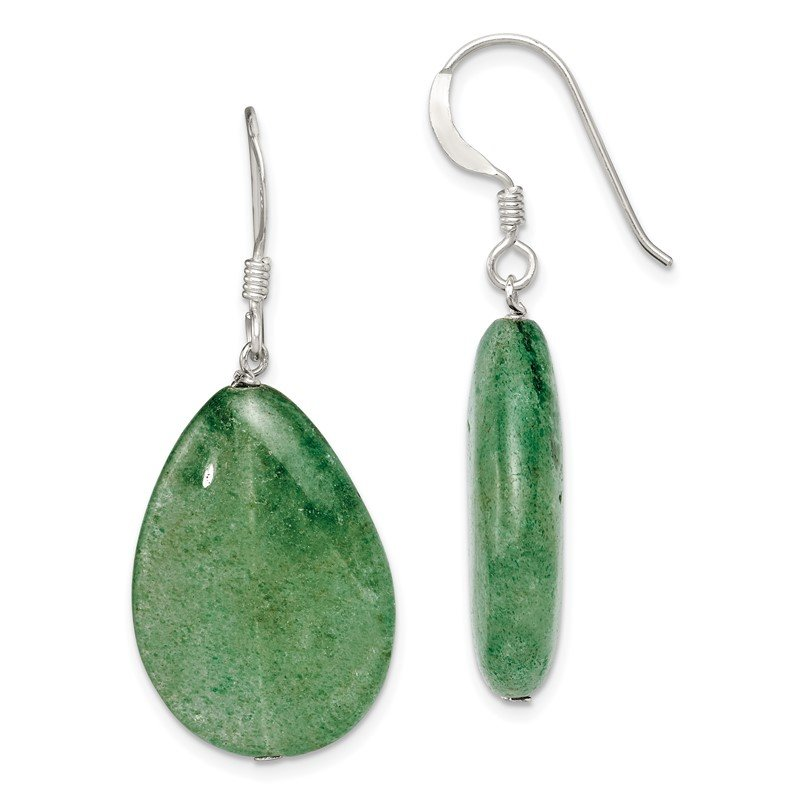 Quality Gold Sterling Silver Cracked Green Aventurine Earrings