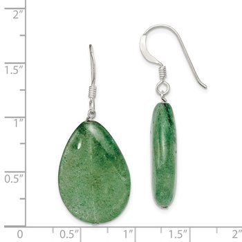 Sterling Silver Cracked Green Aventurine Earrings