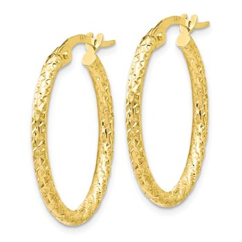 Leslie's 10K Polished D/C Oval Hoop Earrings
