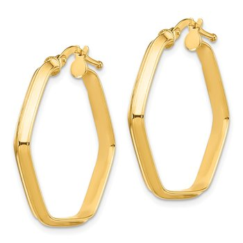 14K 3x2mm Knife Edge Hexagon Hoop Earrings