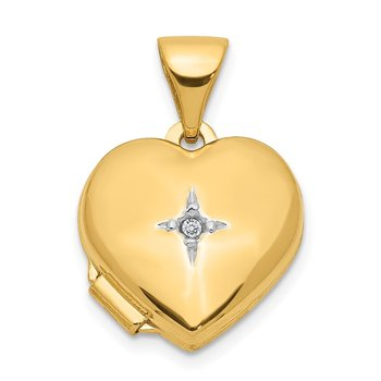 14ky w/ White Rhodium 12mm Diamond Heart Locket