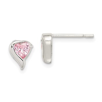 Sterling Silver Pink CZ Heart Earrings