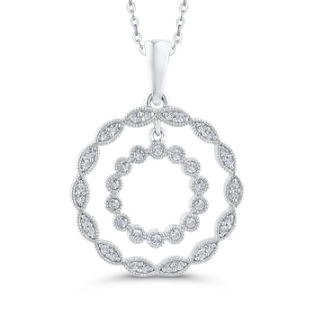Round Cut Diamond Double Circle Pendant