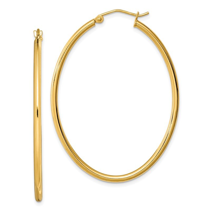 Quality Gold Sterling Silver Gold-plated Oval 2mm Hollow Hoop Earrings