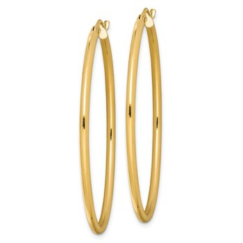Sterling Silver Gold-plated Oval 2mm Hollow Hoop Earrings