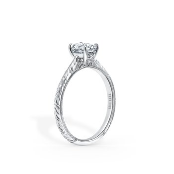 Engraved Traditional Solitare Engagement Ring