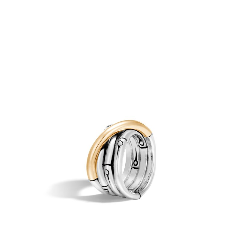 JOHN HARDY Bamboo 14MM Band Ring in Silver and 18K Gold