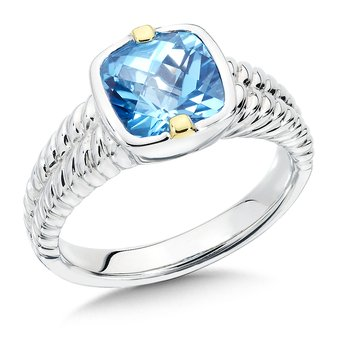 Sterling Silver, 18K Gold and Blue Topaz Ring