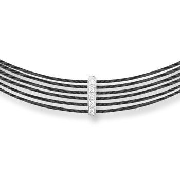 Black Cable 6 Row Choker Necklace with 18kt White Gold & Diamonds
