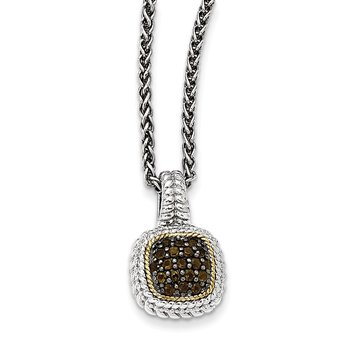 Sterling Silver w/14k and Black Rhodium Smoky Quartz Necklace