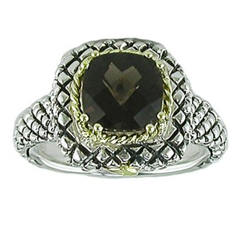 18kt and Sterling Silver Cushion Smokey Quartz Button Ring