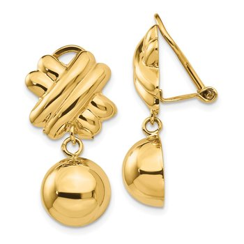 14k Non-pierced Fancy Ball Earrings