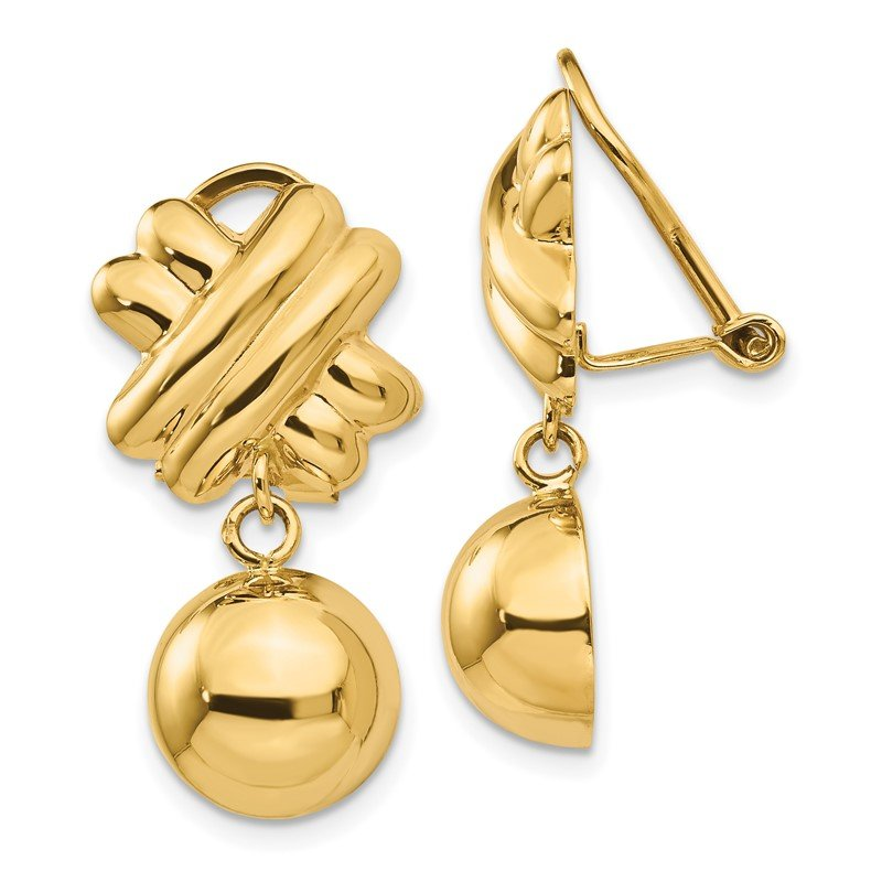 Quality Gold 14k Non-pierced Fancy Ball Earrings