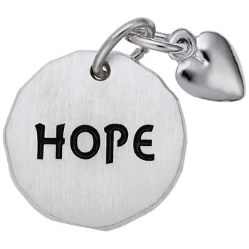 Hope Tag with Heart Charm Accent