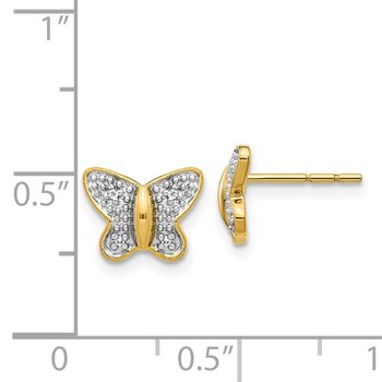 14k w/Rhodium Diamond Butterfly Post Earrings