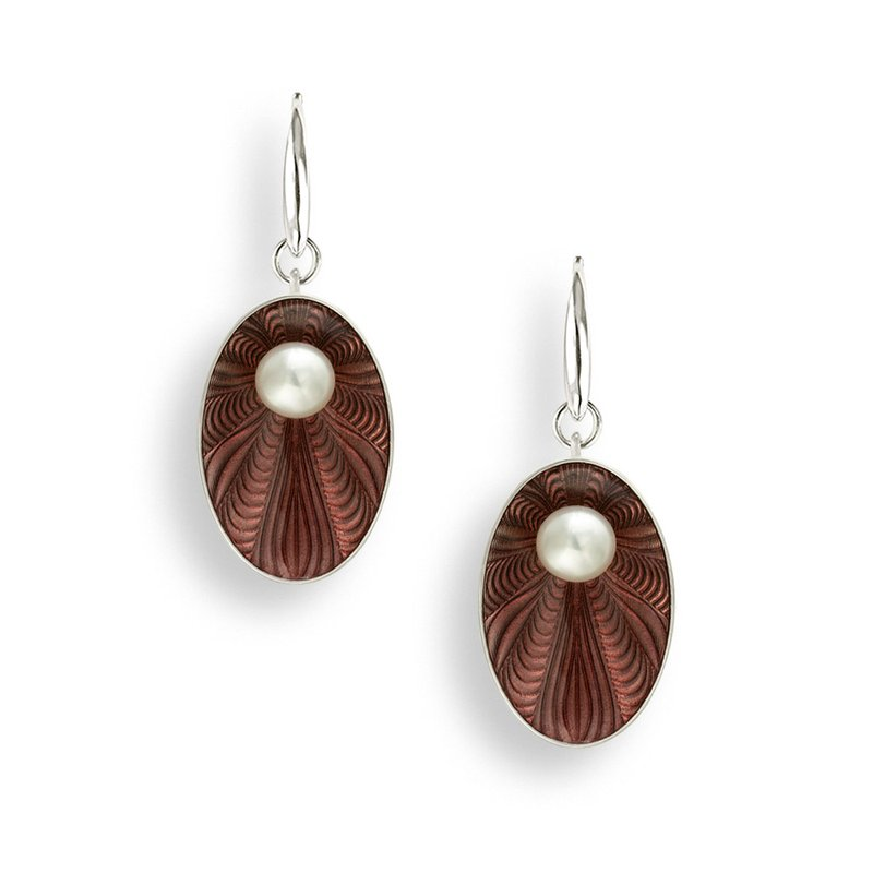 Nicole Barr Designs Brown Oval Wire Earrings.Sterling Silver-Freshwater Pearls