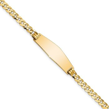 14k Soft Diamond Shape Flat Curb Link ID Bracelet
