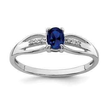 Sterling Silver Rhod-plated Diamond Created Sapphire Ring